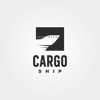 Conception d'illustration de symbole de vecteur de logo vintage de porte-conteneurs, création de logo de navire cargo minimaliste