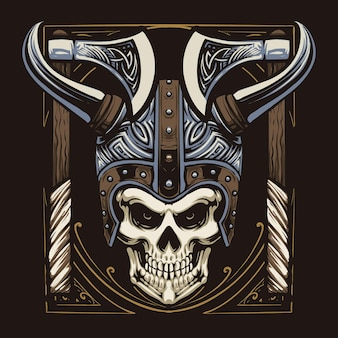 Conception d'illustration tête de crâne viking