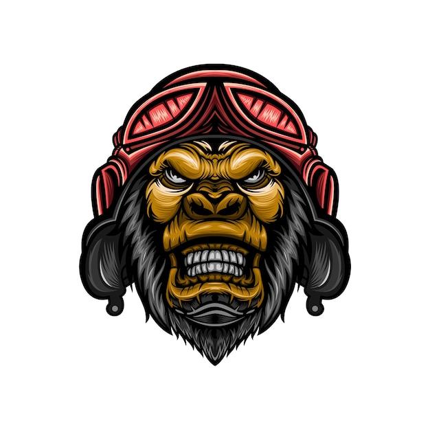 Conception d'illustration tête de gorille portant un casque
