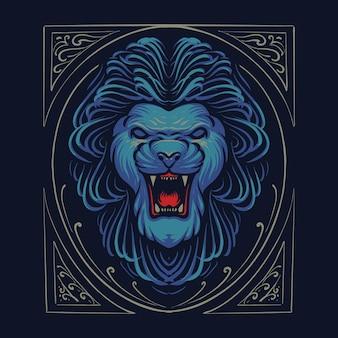 Conception d'illustration tête de lion effrayant