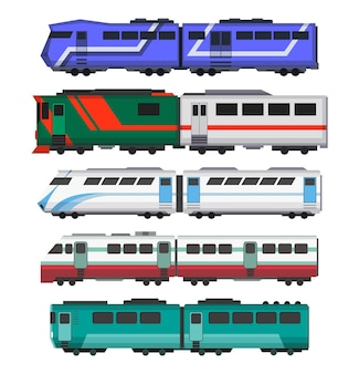 Conception d'illustration de trains express de passagers