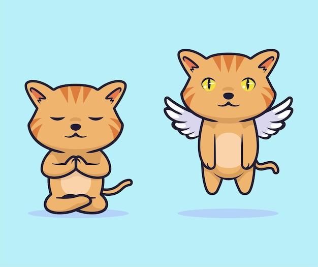 Conception d'illustration vectorielle chat mignon