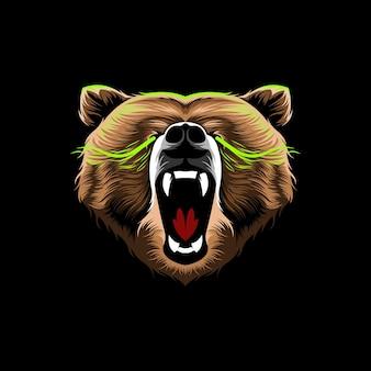 Conception d'illustration vectorielle en colère grizzly tête