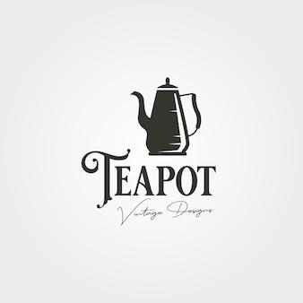Conception d'illustration vectorielle d'étiquette de logo vintage de théière, création de logo de théière en acier inoxydable