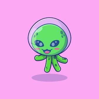 Conception d'illustration vectorielle extraterrestre de poulpe avec casque d'astronaute