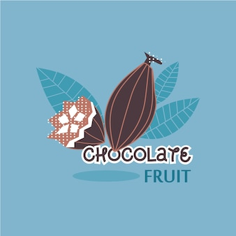 Conception d'illustration vectorielle de fruit d'arbre de chocolat au cacao