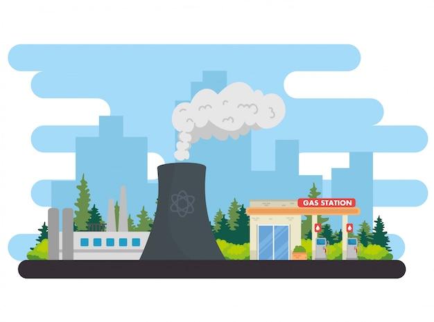 Conception d'illustration vectorielle de l'industrie de l'énergie