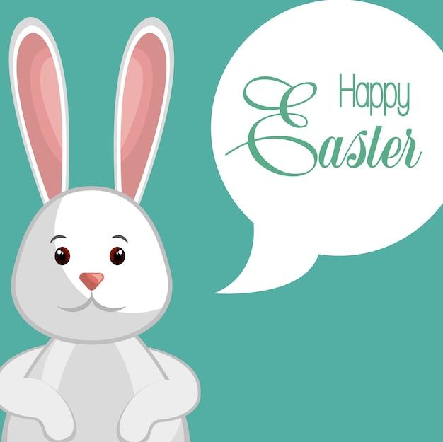 Conception d'illustration vectorielle de joyeux lapin joyeux pâques