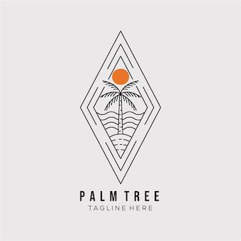 Conception d'illustration vectorielle de logo d'art de ligne de palmier. symbole de contour minimaliste de cocotier. icône de badge palmier
