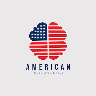 Conception d'illustration vectorielle de logo de drapeau de trèfle américain. symbole de carte à jouer