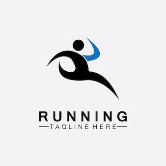 Conception d'illustration vectorielle de logo de personnes en cours d'exécution. athlètes de marathon en bonne santé sprintant logo vectoriel