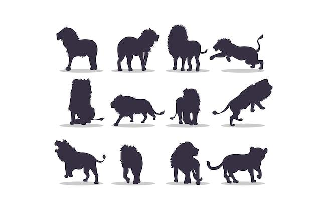 Conception d'illustration vectorielle silhouette lion