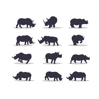 Conception d'illustration vectorielle silhouette rhinocéros