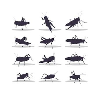 Conception d'illustration vectorielle silhouette sauterelle