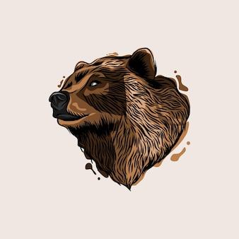 Conception d'illustration vectorielle tête grizzly