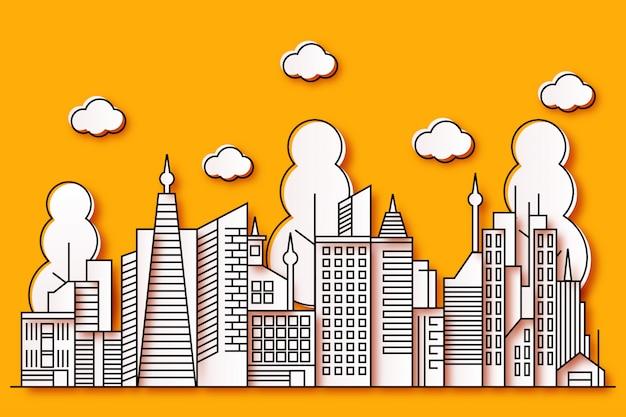 Conception d'illustration de la ville avec un beau style de papier