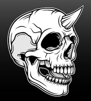 Conception d'illustration vintage dessinés à la main crâne cornu