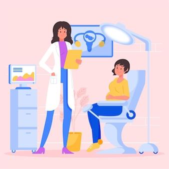 Conception illustrée de consultation de gynécologie