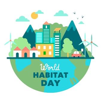 Conception illustrée de la journée mondiale de l'habitat