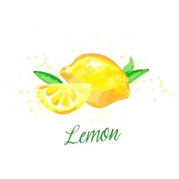 Conception d'imitation aquarelle citron avec des éclaboussures de peinture.