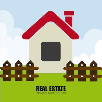 Conception de l'immobilier au cours de l'illustration vectorielle fond paysage