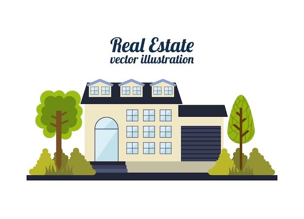 Conception de l'immobilier sur l'illustration vectorielle fond blanc