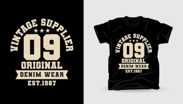 Conception d'impression de t-shirt de typographie universitaire zéro neuf fournisseur vintage