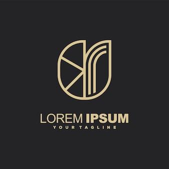 Conception impressionnante de logo de couleur or d'art de ligne
