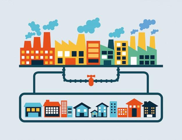 Conception de l'industrie au cours de l'illustration vectorielle fond bleu