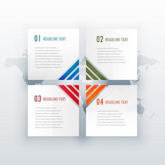 Conception d'infographie blanche à quatre étapes pour un diagramme de mise en page web ou de flux de travail