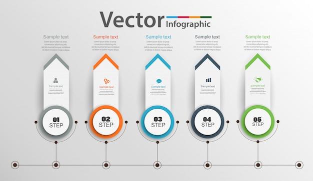 Conception d'infographie chronologique avec 5 options, étapes ou processus