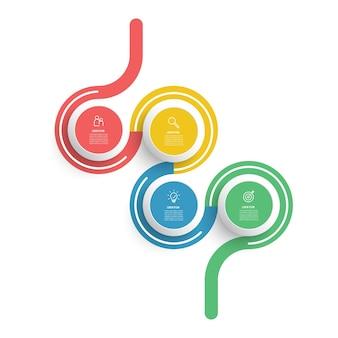 Conception d'infographie avec des icônes et 4 options ou étapes concept d'entreprise d'infographie
