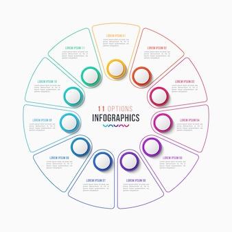 Conception infographique en 11 parties, diagramme circulaire
