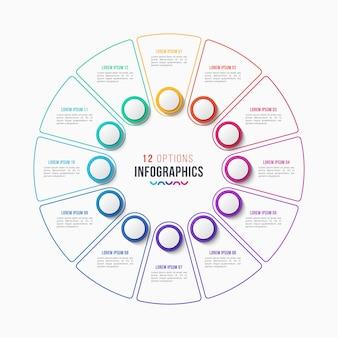 Conception infographique en 12 parties, diagramme circulaire