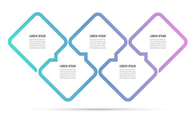 Conception infographique avec 5 options ou étapes. infographie pour concept d'entreprise.
