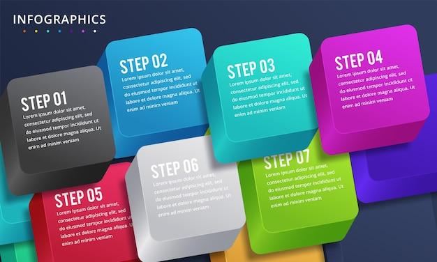 Conception infographique avec 7 options ou étapes