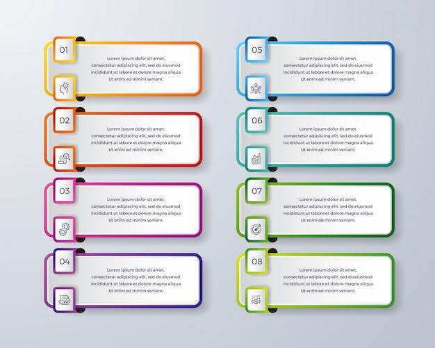 Conception infographique en 8 étapes ou processus.
