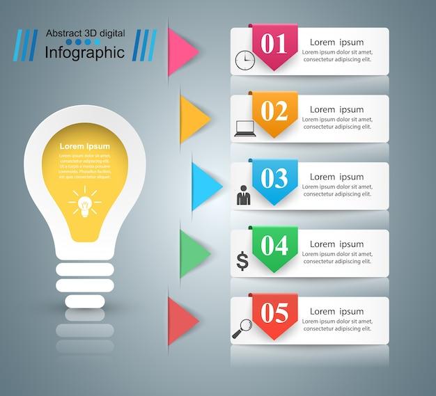 Conception infographique. ampoule, icône de la lumière.
