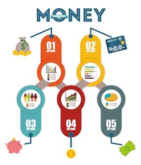 Conception infographique de l'argent.