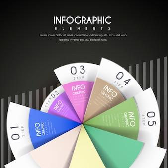 Conception infographique attrayante avec des éléments de camembert