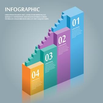 Conception infographique attrayante avec des éléments d'escalier de barre 3d
