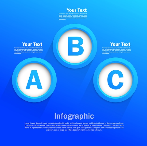 Conception infographique avec des cercles de couleur bleue