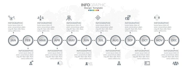 Conception infographique chronologique pour 1 an, 12 mois, étapes ou processus.