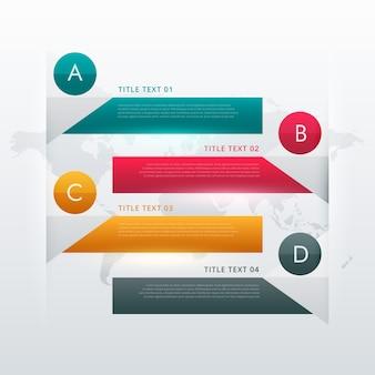 Conception infographique colorée à quatre étapes pour la visualisation des données et les diagrammes de flux de travail