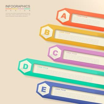 Conception Infographique Contemporaine Avec Des éléments D'étiquette Hexagonaux Vecteur Premium