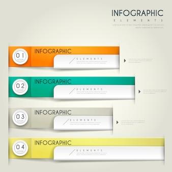 Conception Infographique Contemporaine Avec Des éléments D'étiquettes Colorées Vecteur Premium