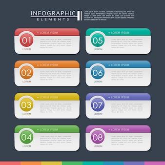 Conception infographique contemporaine avec des éléments d'étiquettes colorées