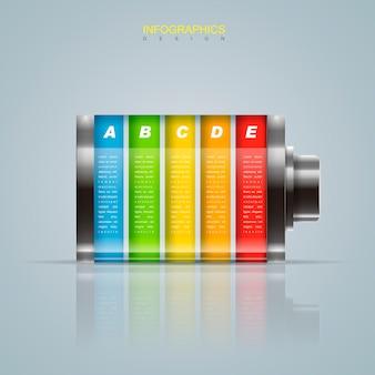 Conception infographique créative avec des éléments de batterie colorés