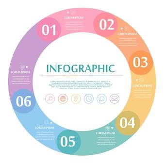 Conception infographique créative avec des éléments circulaires colorés