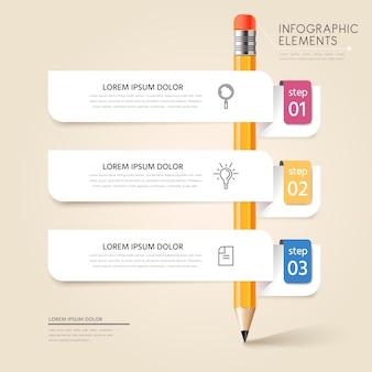 Conception infographique de l'éducation avec étiquette blanche et étiquettes
